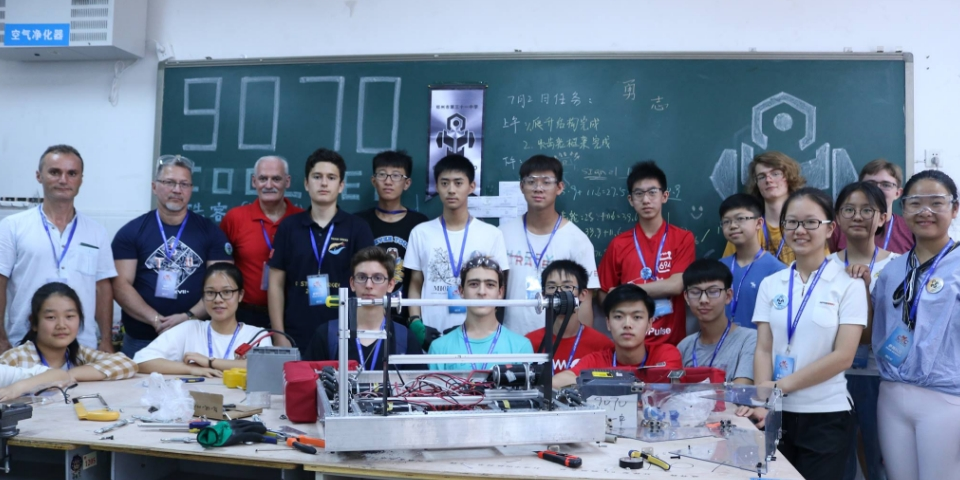 StuyPulse with team 9070 at the China Robotics Challenge!